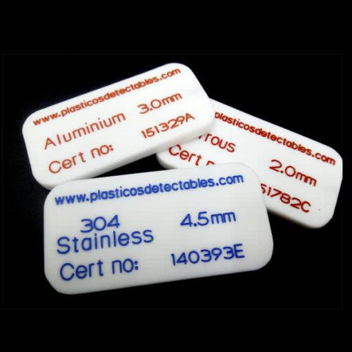 Patrón de calibración tipo tarjeta rígida PTFE Plasticos Detectables