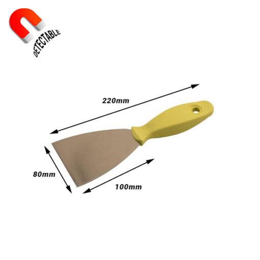 Rasqueta inox con mango detectable 80 mm