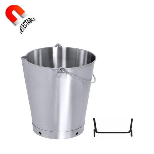 Cubo graduado con pico vertedor base reforzada de acero inoxidable