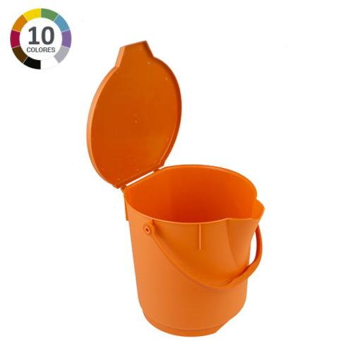 Cubo ultra higiénico de 12L con tapa - Naranja